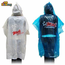 transparent pe disposable rain poncho with logo for promotion