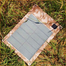 Small flexible un foldable solar panel for backpack