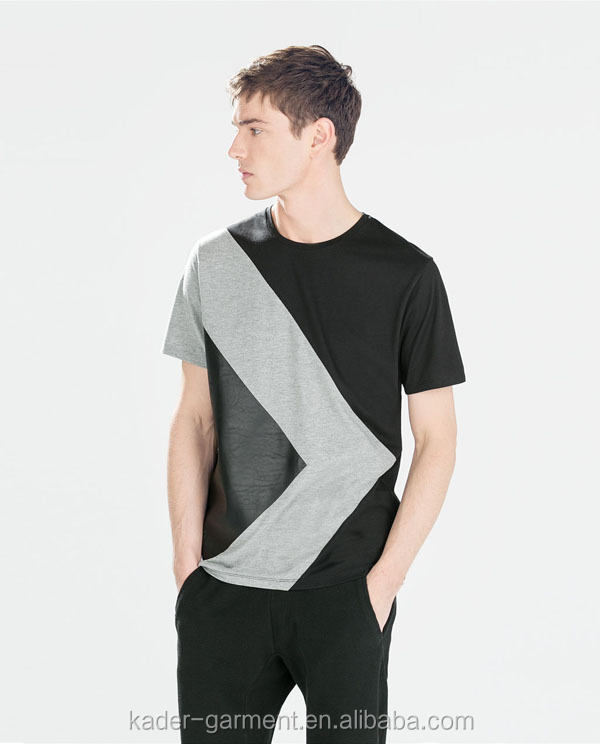 Mens Trendy T Shirt,Color Combination T Shirt,Imitation Leather ...
