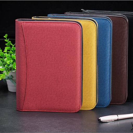 PU leather portfolio with zipper closed business binder notebook Luxury Folders blank journal cardboard couple gratitude