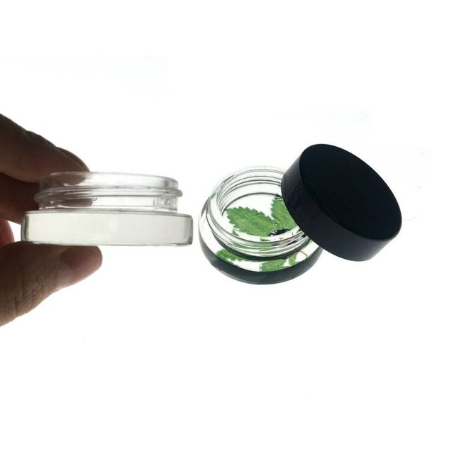 Oil-slick bho extraction 5ml glass wax containers for dab vaporizer glass storage jar containers clear glass cosmetic jars whole