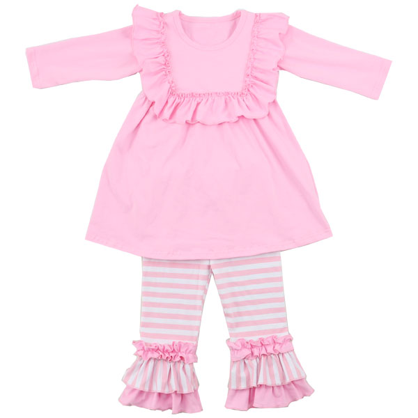 2016 New Baby Pink Ruffle Spring Girls 3 Years Clothes Cute Children Wholesale Clothing USA