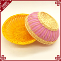 oem wholesale hand-woven round bread baskets for kitchen display