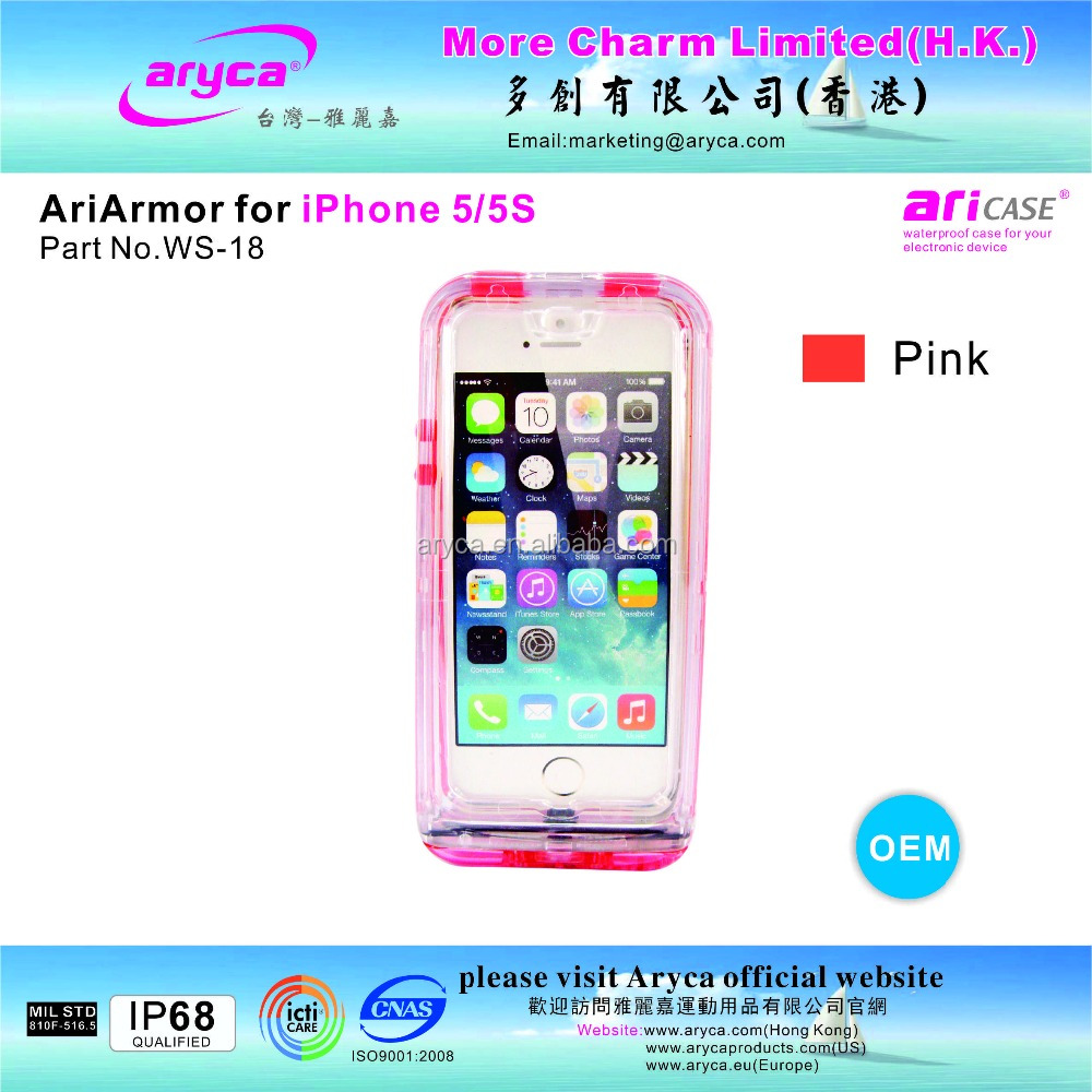 Protective Popular Stylish pink Waterproof Case for iPhone5/ 5S