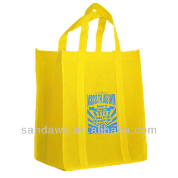 Yellow 80gsm Non-woven Fabric handled shopping bags