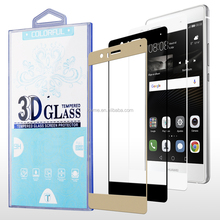 Chrome Printed Color 3D Full Screen 9H Tempered Glass Screen Protector for Huawei P9 Lite