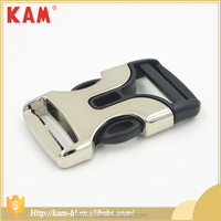 KAM fashion zinc alloy metal adjustable quick side release buckle black