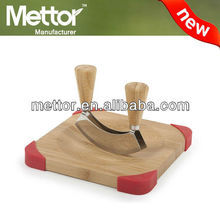 2014 METTOR hot sale unique bamboo cutting board double mincing knife set cutting board with knife