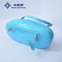 blue handy glasses case bag fashion lady / children portable PU cosmetic bag