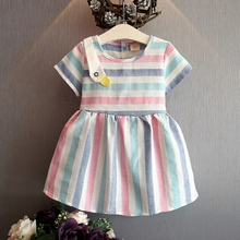 2016 new bowknot stripes girls frocks designs mesh children dress