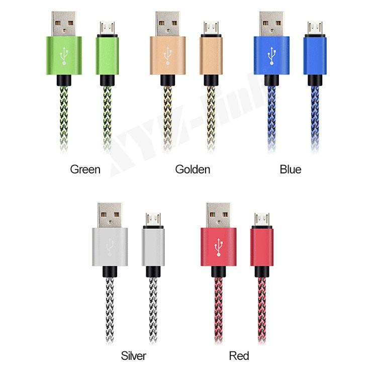 Alta qualidade cabo de dados micro usb cabo de nylon trançado para iphone 6 plus