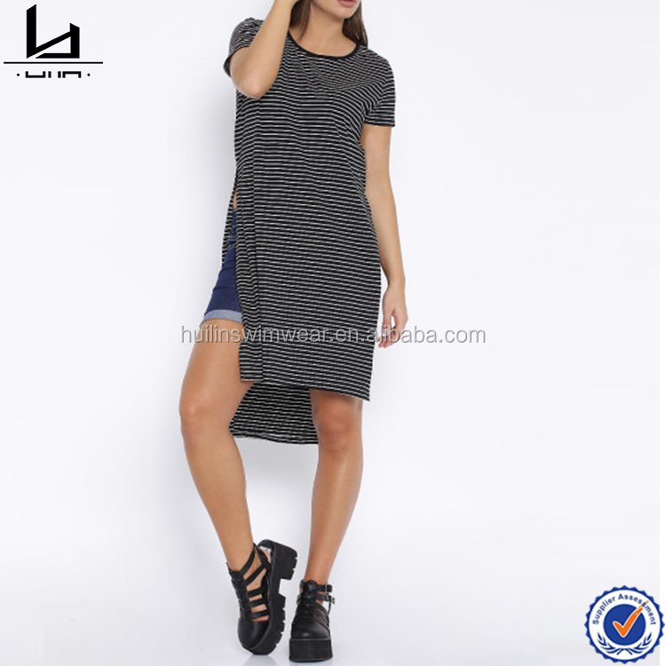 Black and white striped high slit women t-shirt cotton material round neck t-shirts wholesale clothing blank t shirts