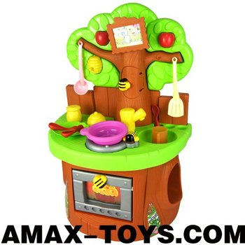 ht-802216 Kitchen set Newest tree styled cartoon toys cupboard with a series of lifelike kitchenware