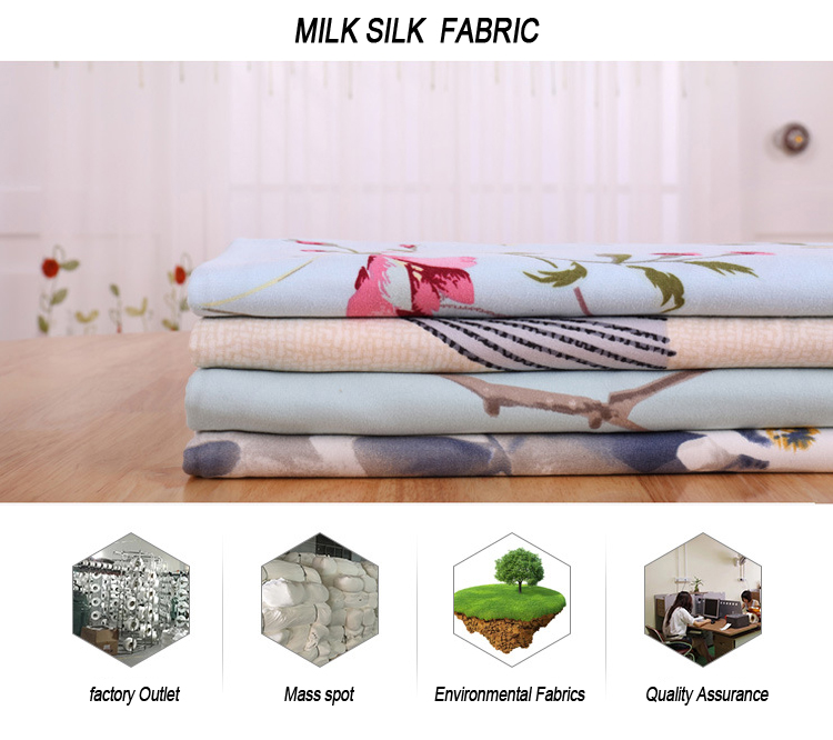 DTY Brushed printed single jersey milk silk fabric stock