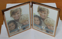 2-Opening Hinged Metal Photo Frame, 5 by 7-Inch, Silver
