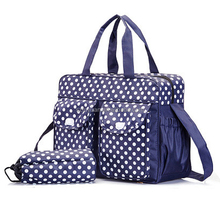 2016 best selling polka dot microfiber baby diaper bag with outside pocket