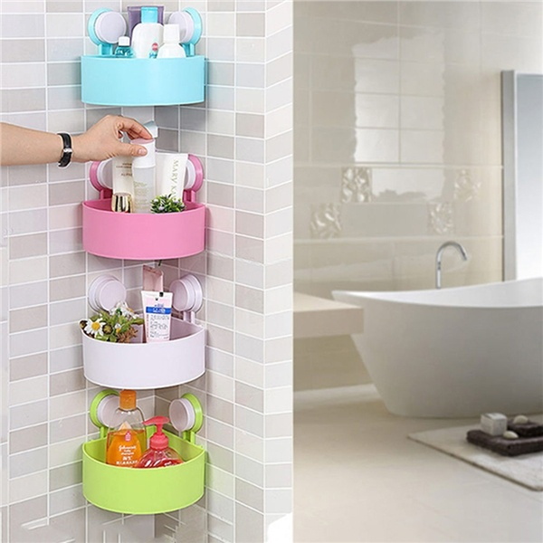 Bathroom Accessories Double Sucker Stable Triangle Bathroom Storage Corner Shelf Plastic rack wall mounted
