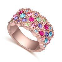 2015 newest fashion rose gold multicolor ring