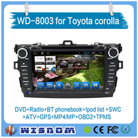 WISDOM 8 inch japan car dvd player for toyota corolla 2006 2007 2008 2009 2010 2011 with bluetooth/phonebook,swc,Radio/RDS/MAP