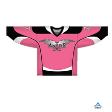 Top grade OEM customized sublimated pink color ice hockey jersey