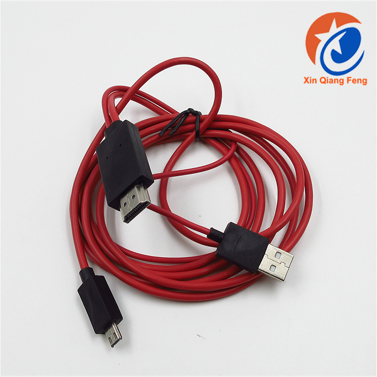 high quality MHL Android phone Micro USB to hdmi male lead cable 2m for HDTV