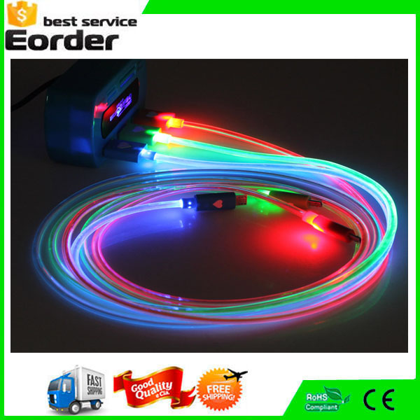LED Light Up Cable ,TPE Micro USB Charging Data Cable Male to Female USB Cable Cords for i6/ Android