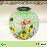 multicolor solar powered metal butterfly garden lantern
