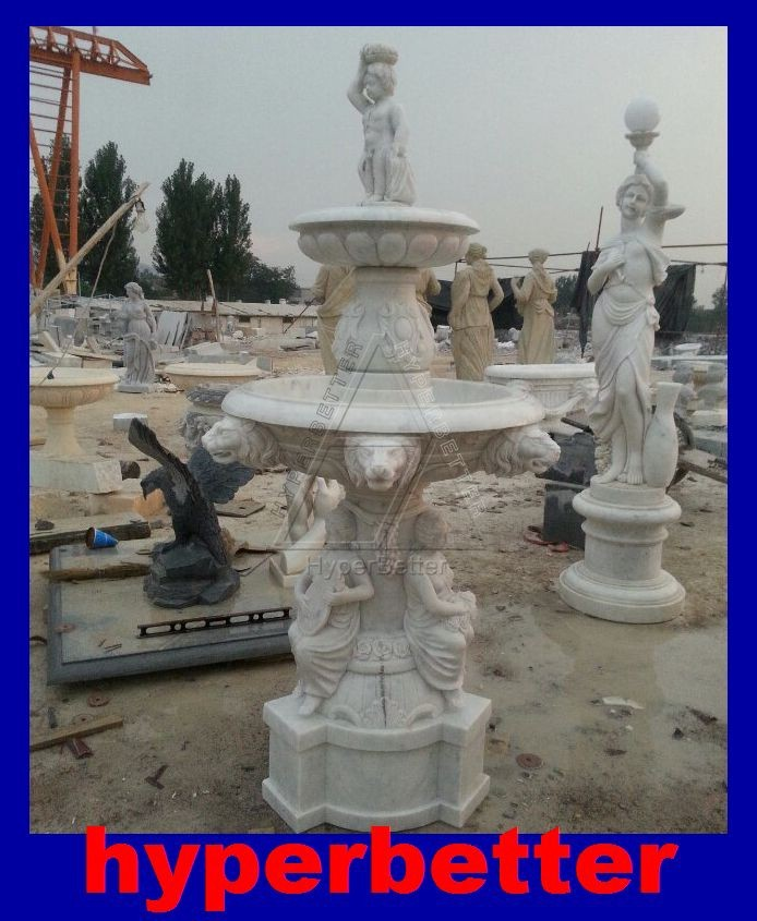 Marble water fountain with sculpture for garden