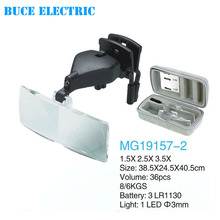 MG19157-2 LED Glasses Electronic Repair Working Dental Magnifying Glass with Clip