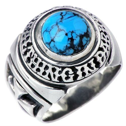 Men's Stainless Steel Ring with Sapphire