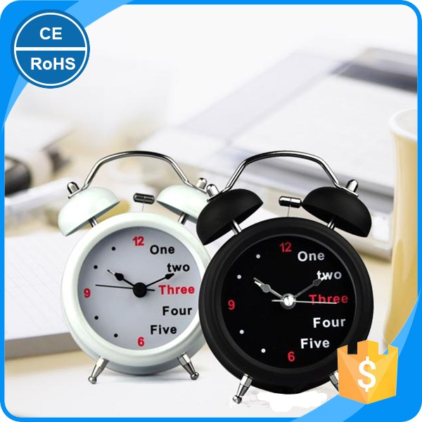 Alarm Clock Classic Double Bell Plated Metal Clock Quartz Sweep Movement Silent Table Desk Alarm Clock