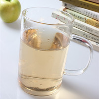 china new product fashionable 450ml handmade round bottom pyrex glass drinking cup with handle
