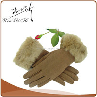 Camel Color Warm Fur Lining Cotton Mittens Adult