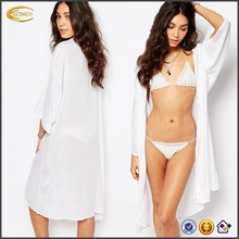 Ecoach Wholesale OEM High Quality Hot Sexy Girl Photo Open Front White Beach Kimono Long Style Beachwear Cover Up for Women