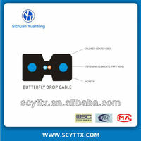 communication indoor non-metallic/metal butterfly 1core optical fiber drop cable