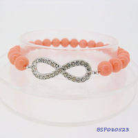 Hot 2013 lady's CZ infinity shell pearl wish bracelet