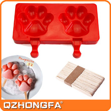 Silicone ICE Popsicle Molds ,DIY ICE CREAM Maker,Silicone Jelly Chocolate Candy with Wooden Sticks - Paw