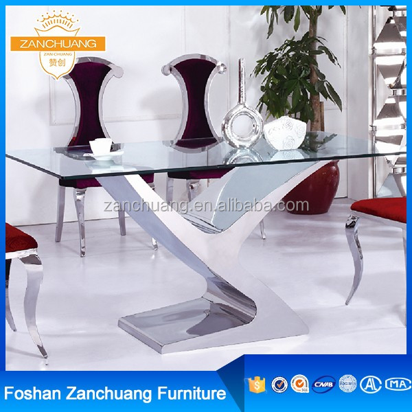 Modern dinning room set luxury rectangle glass mirrored dining table