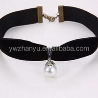 Fashion Pearl Velvet Choker Necklace