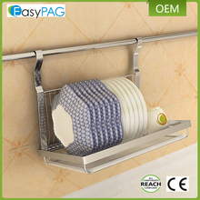 EasyPAG silver stainless steel hanging wall-mounted metal dish rack