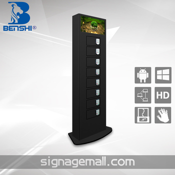 restaurant cell phone charging station with LCD advertising player