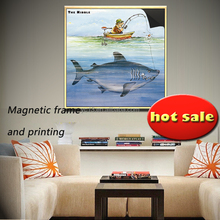 Alternatively ad decorative magnetic frame & print magnetic painting crazy fisherman 1013-145