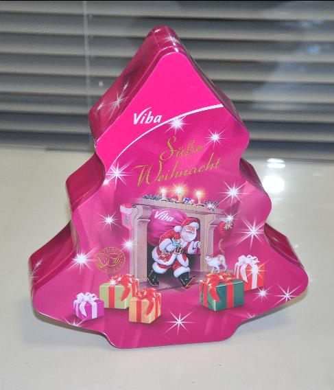 China Supplier wholesale custom print Christmas tree tin box