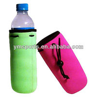 Colourful neoprene 200ML minel water bottle cooler bag with drawstring holder for beach manufacture