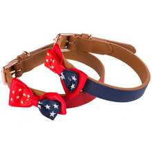 new comfort blue leather dog collar with bow tie