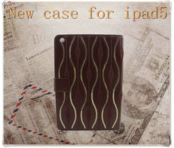 Luxury leather case for tablet pc,leather case for ipad 5 with stand,card holding case for ipad air