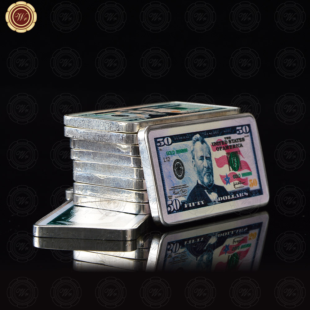 WR 1OZ Silver Bar Fifty Dollar Promotional Gift Unique Gifts USA banknote bar Commemorative wholesale