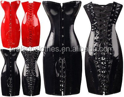 Instyles walson Sexy Lady Gothic PVC Lace Up Bondage Mini Dress Corset Clubwear Lingerie