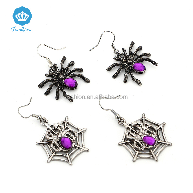 Fashion Halloween Gift Purple Jewelry Spider Pendant Earrings Spider Web Earrings Sets