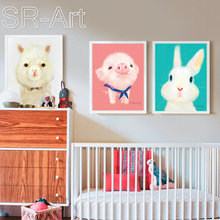 Animal Canvas Wall Art Prints Rabbit Pig Bear Poster Picture Prints for Room Wall